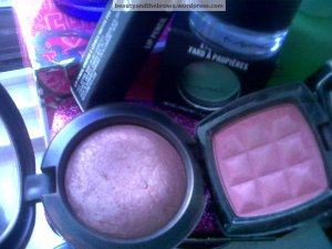 MAC Mineralize Blush in Lovejoy and NYX's Powder Blush in Desert Rose