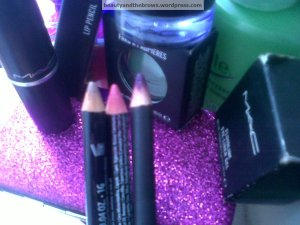 NYX Nude Beige, NYX Pinky and MAC Currant